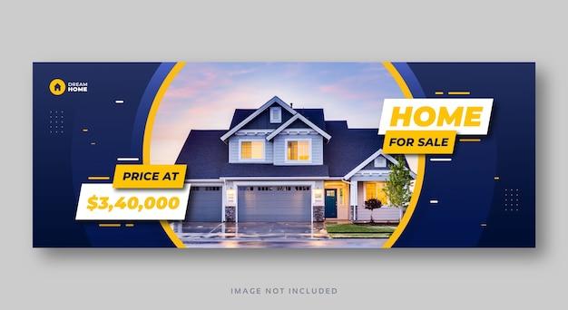 Banner web di copertura dei social media di vendita della casa immobiliare