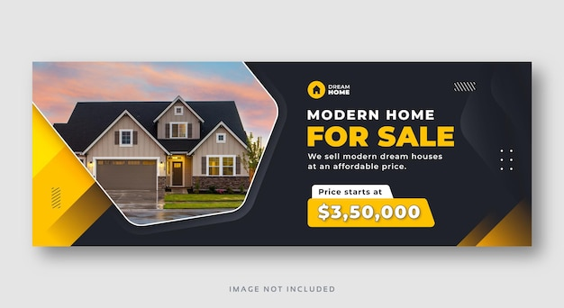 Banner web di copertina di facebook di social media di vendita di immobili domestici