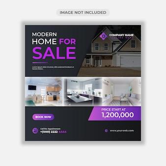 Banner web di vendita casa immobiliare o modello di post sui social media