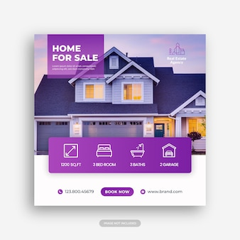 Immobiliare casa proprietà instagram post o banner web quadrato modello pubblicitario vettore