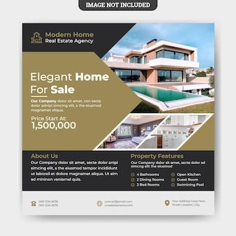 Modello di banner web post di social media di vendita di casa immobiliare