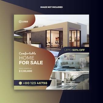Posta sociale di media di vendita della casa del bene immobile e bandiera di web
