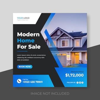 Post di social media della casa immobiliare o modello di banner di instagram premium vector