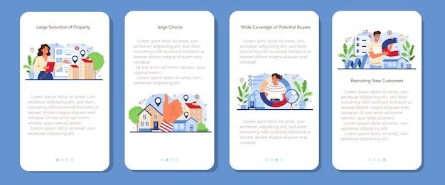 Il banner dell'applicazione mobile del settore immobiliare imposta l'idea di un'ampia selezione