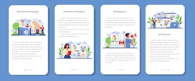 Set di banner per applicazioni mobili del settore immobiliare vendita di proprietà