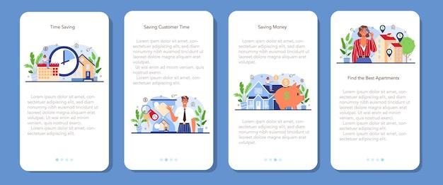 Set di banner per applicazioni mobili del settore immobiliare immobiliare qualificato