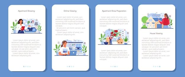 Set di banner per applicazioni mobili del settore immobiliare agente immobiliare