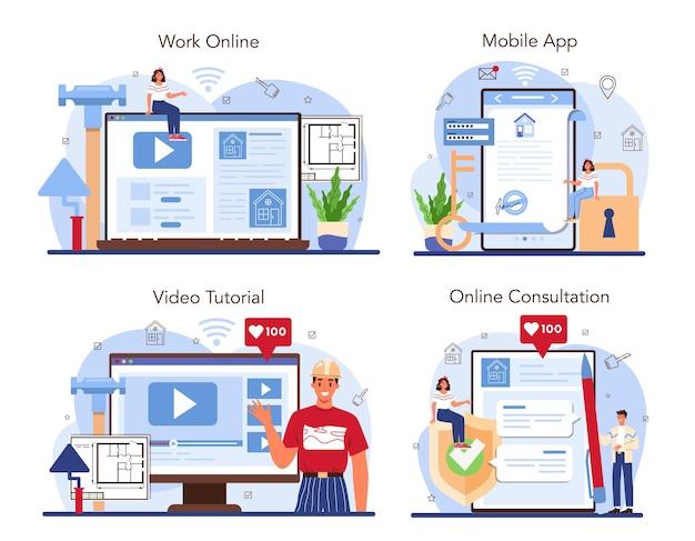 Servizio online del settore immobiliare o piattaforma per il rimodellamento della casa