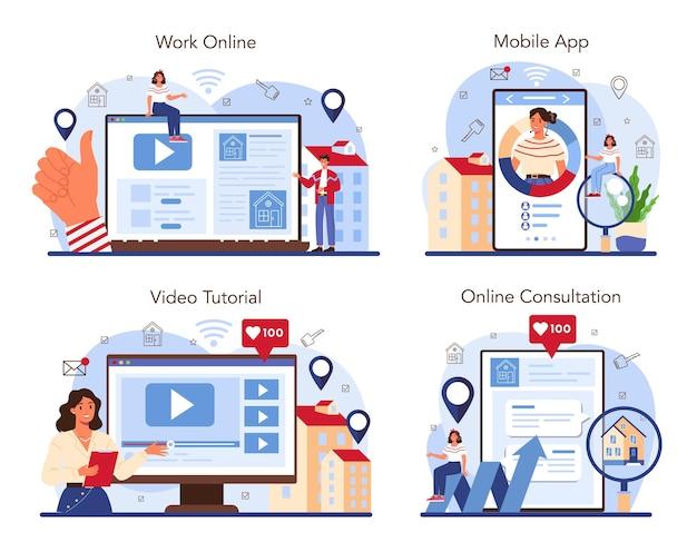 Il servizio online o la piattaforma del settore immobiliare imposta l'idea di un'ampia selezione