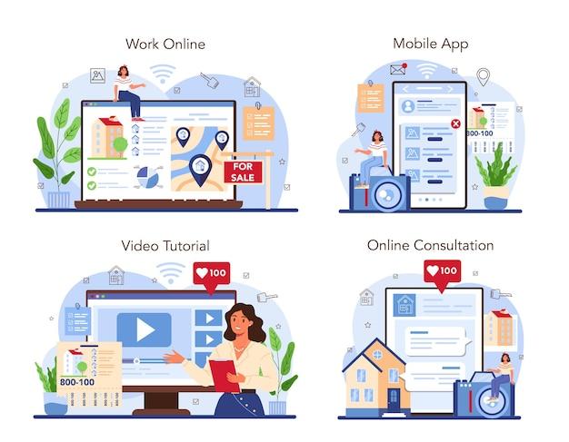 Servizio online del settore immobiliare o vendita di proprietà di piattaforme