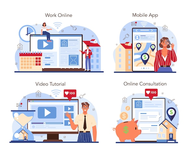 Set di servizi online o piattaforme del settore immobiliare immobiliare qualificato