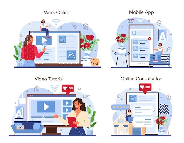 Set di servizi o piattaforme online del settore immobiliare agente immobiliare