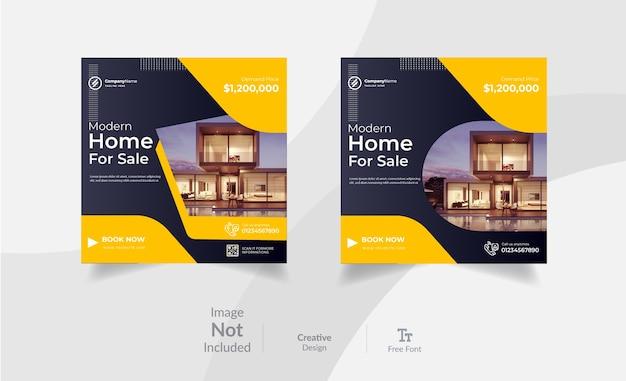 Post di marketing di instagram immobiliare e modello di progettazione di post sui social media