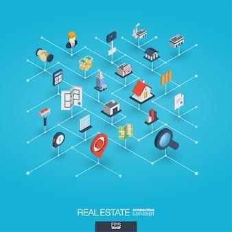 Icone web 3d integrate immobiliari. concetto isometrico della rete digitale.