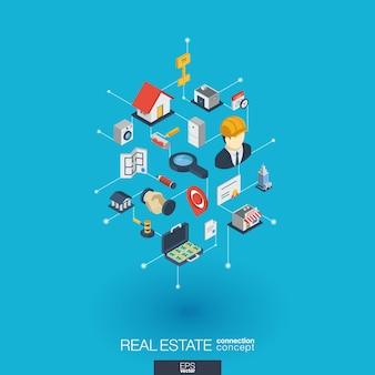Icone web integrate immobiliari. concetto di interazione isometrica rete digitale. sistema grafico di punti e linee collegato. sfondo astratto per affitto appartamento, vendita di proprietà. infograph