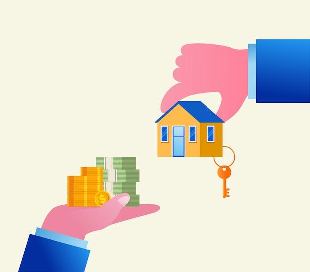 Investimenti immobiliari e concetto di sviluppatore piatto illustrazione vettoriale banner e landing page