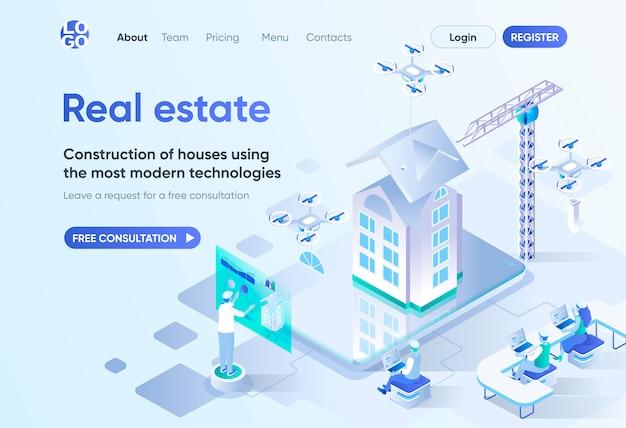 Pagina di destinazione isometrica immobiliare. tecnologia di costruzione moderna, design e ingegneria. investimento nel modello immobiliare per cms e costruttore di siti web. scena isometrica con personaggi di persone.