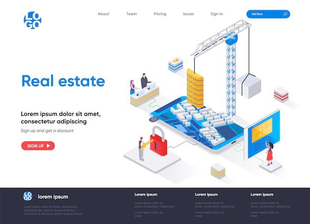 Modello di pagina di destinazione isometrica immobiliare