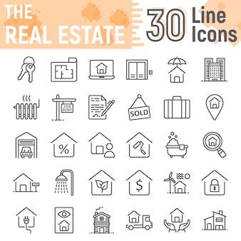 Insieme dell'icona di linea immobiliare, raccolta di simboli di casa