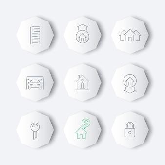 Set di icone di linea immobiliare, vettore
