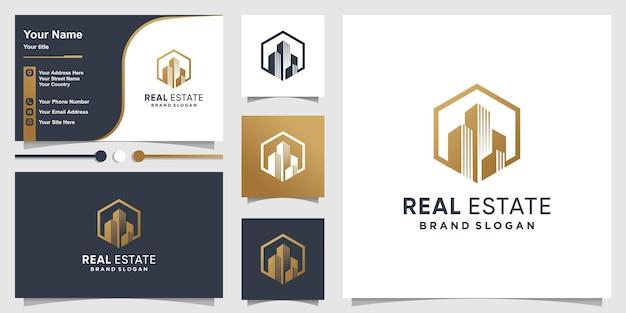 Logo immobiliare e design del biglietto da visita con un concetto semplice creativo vettore premium premium