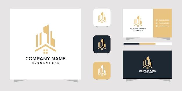 Design del logo immobiliare e biglietto da visita.