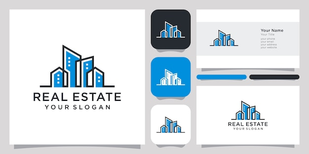 Real estate logo design icon symbol template vettoriale e business card design.