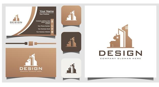 Progettazione del logo immobiliare vettore con biglietto da visita modello di sfondo