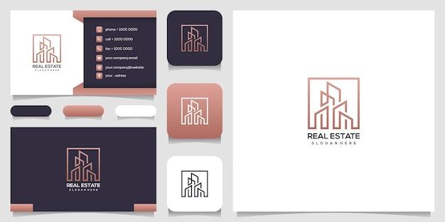 Design del logo immobiliare con biglietto da visita