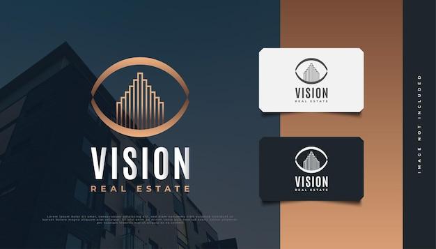 Logo design immobiliare con eye vision concept