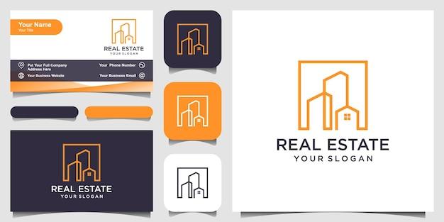 Design del logo immobiliare con stile art line. design del logo e design del biglietto da visita