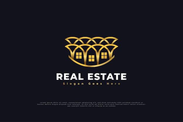 Real estate logo design con stile di linea in oro sfumato. modello di progettazione del logo di costruzione, architettura o edificio