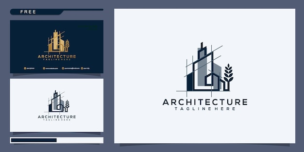 Modello di disegno astratto di affari del grattacielo logo immobiliare lineare