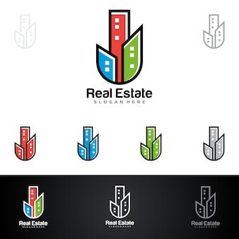 Logo immobiliare con proprietà astratta e forma di casa