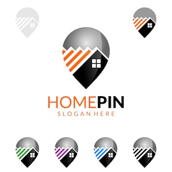 Logo del bene immobile con la camera e concetto della casa del ritrovamento