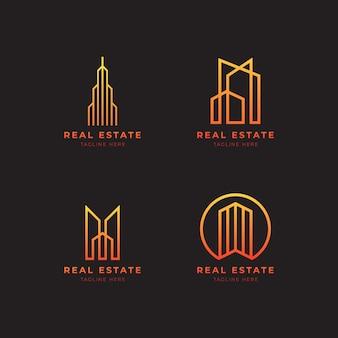 Logo immobiliare con stile lineart. elegante e moderno edificio per la casa logo design vector Vettore Premium