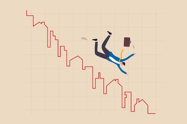 Grafico al ribasso del prezzo del mercato immobiliare, acquirente di casa o concetto di investimento immobiliare, imprenditore acquirente, investitore o agente immobiliare che cade da casa e costruzione grafico e grafico di tuffo rosso