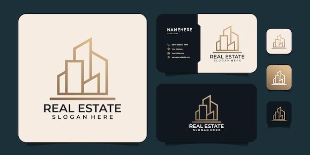 Vettore minimalista di progettazione del logo del monogramma del bene immobile