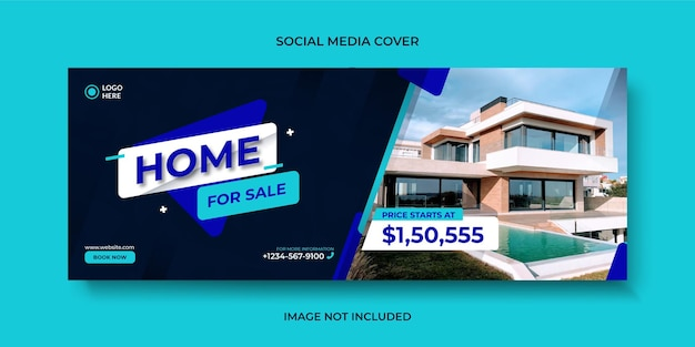 Modello di copertina, banner o banner web di social media di vendita casa moderna immobiliare
