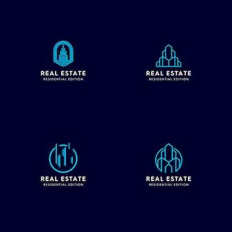 Logo monoline immobiliare Vettore Premium