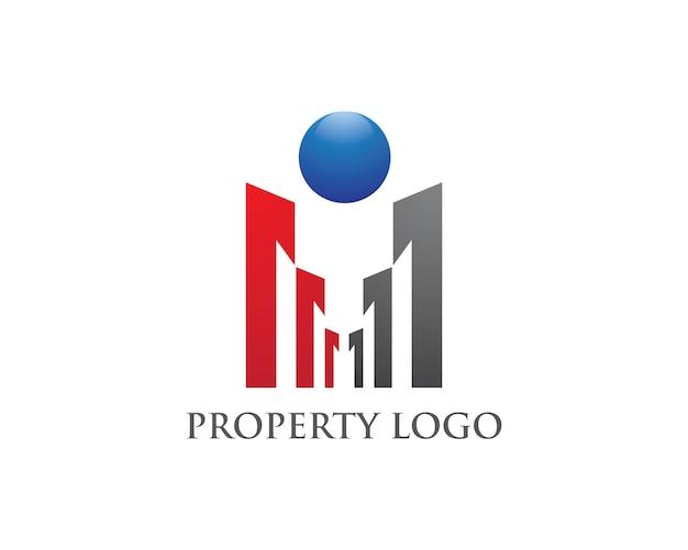 Immobiliare, proprietà e costruzioni logo Vettore Premium
