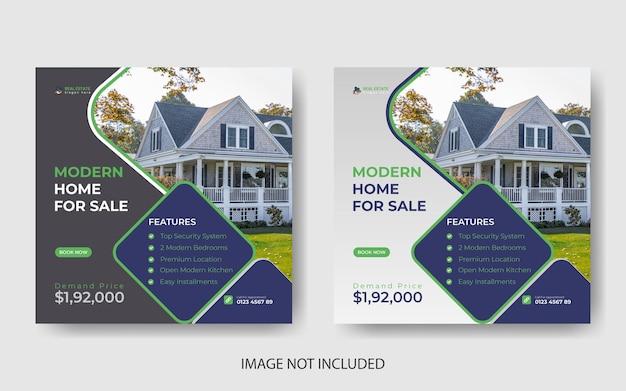 Casa di proprietà immobiliari post di instagram o modello di banner per social media vettore premium