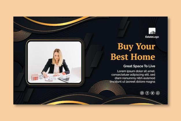 Modello di banner per l'acquisto di immobili Vettore Premium