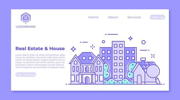 Concetto di pagina di destinazione immobiliare e casa residenziale