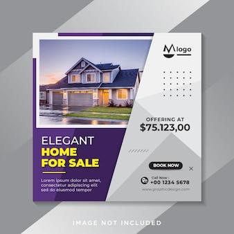 Modello di banner di social media di vendita immobiliare