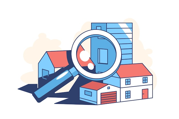 Illustrazione di stile piano dell'illustrazione di ricerca immobiliare