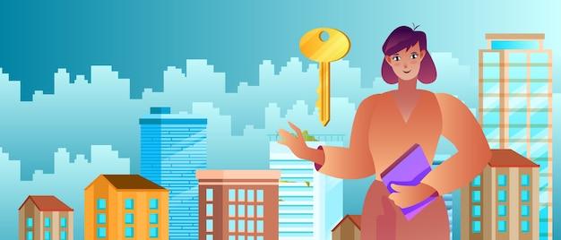 Concetto di servizio immobiliare con agente immobiliare