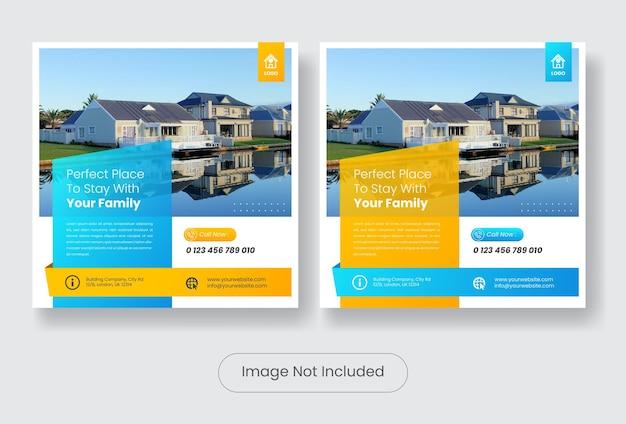 Post del modello di banner di feed di social media immobiliare.
