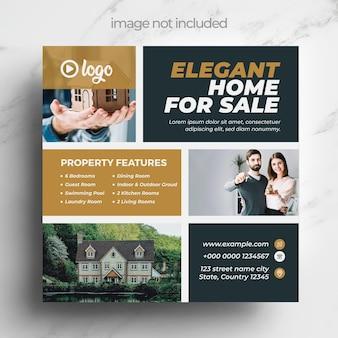 Modello di social media marketing immobiliare Vettore Premium
