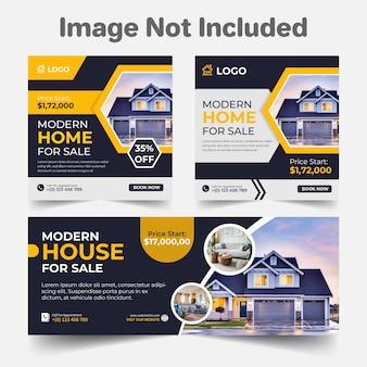 Post di social media immobiliare e modello di design della copertina set di branding